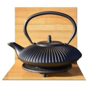 4.Théière en fonte noire zen d'inspiration japonaise avec repose-théière