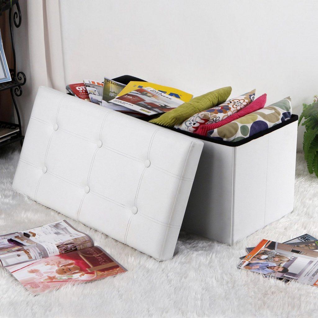 les meilleurs poufs coffres de rangement blancs. Black Bedroom Furniture Sets. Home Design Ideas